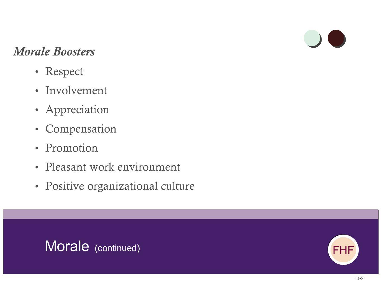 Morale (continued) Morale Boosters Respect Involvement Appreciation