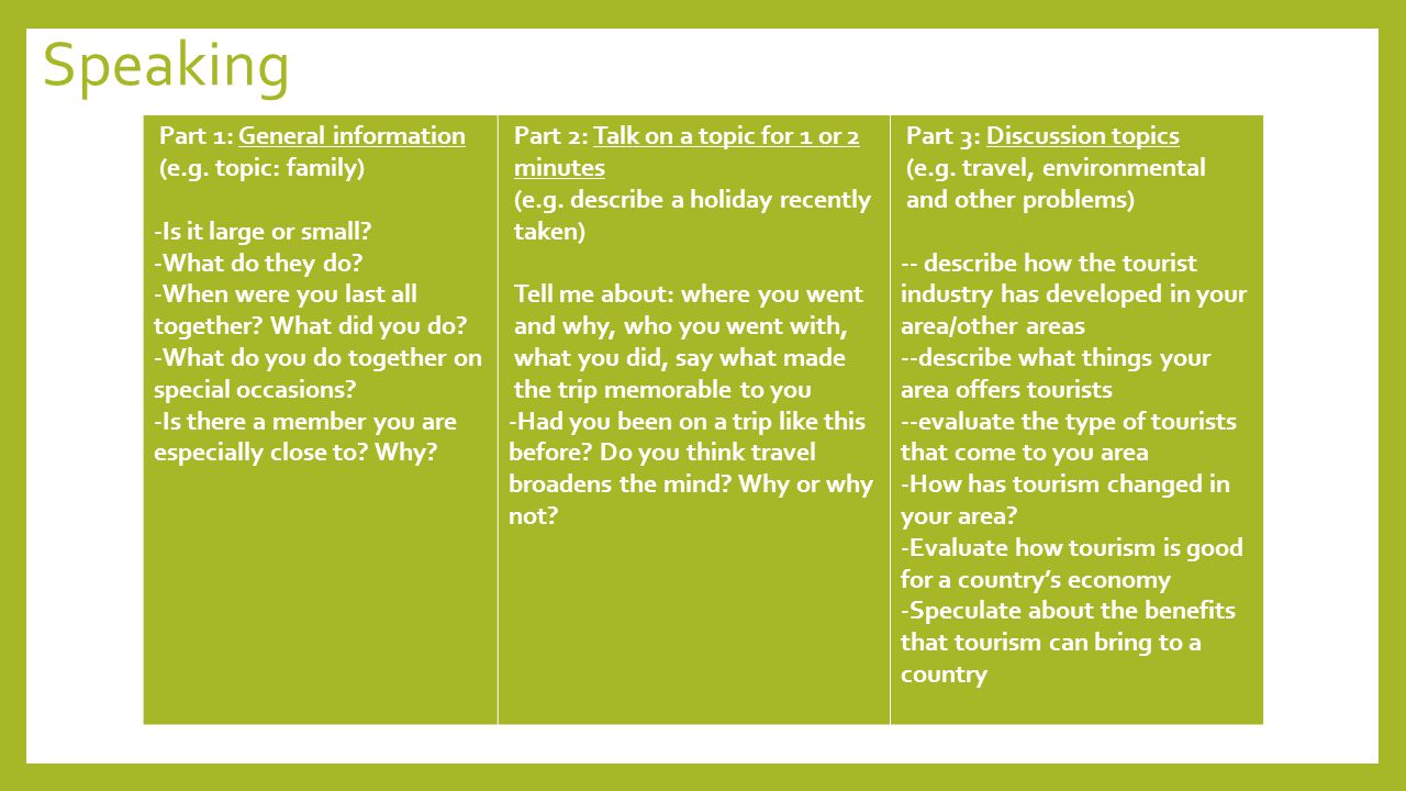 Speaking Part 1: General information (e.g. topic: family)