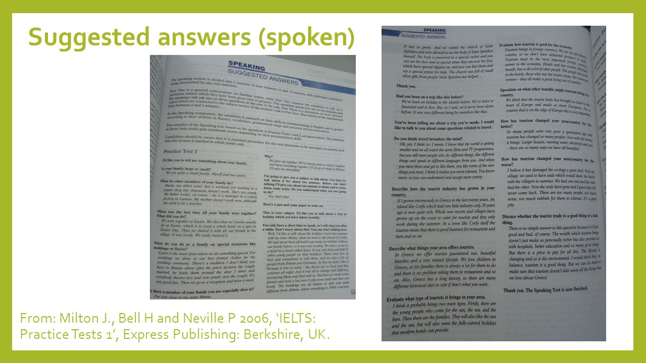 Suggested answers (spoken)