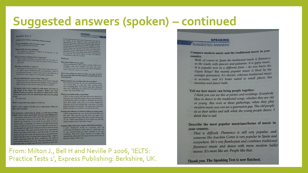 Suggested answers (spoken) – continued