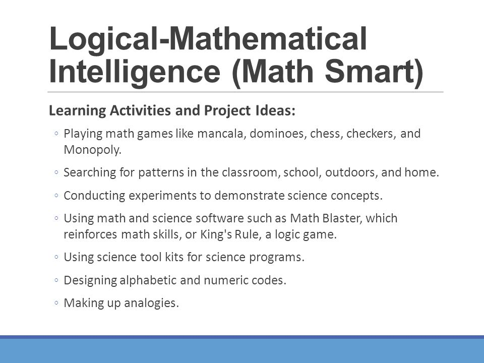 logical mathematical intelligence English sentences with logical mathematical intelligence in context no results, please check your input for typos or set a different source language 0 exact 30 similar sentences.