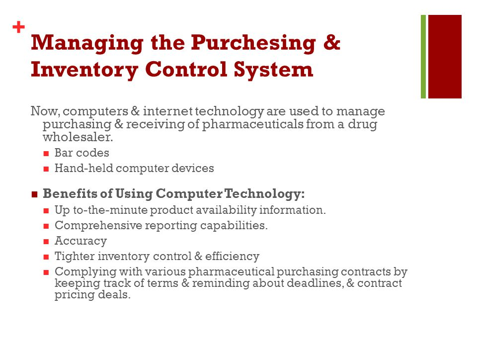 improvement of pharmacy inventory control system Scriptpro's sp central pharmacy management system allows your pharmacy to process, track, and dispense all prescriptions with the highest level of security, accuracy, and efficiency our pharmacy software is the keystone of scriptpro's perfect integration-a system that can incorporate robotic filling, barcode driven workflow, ivr, inventory.
