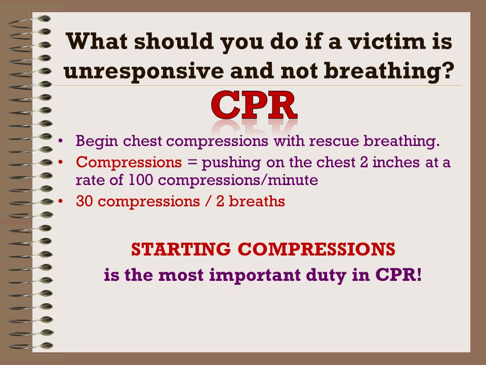 What should you do if a victim is unresponsive and not breathing