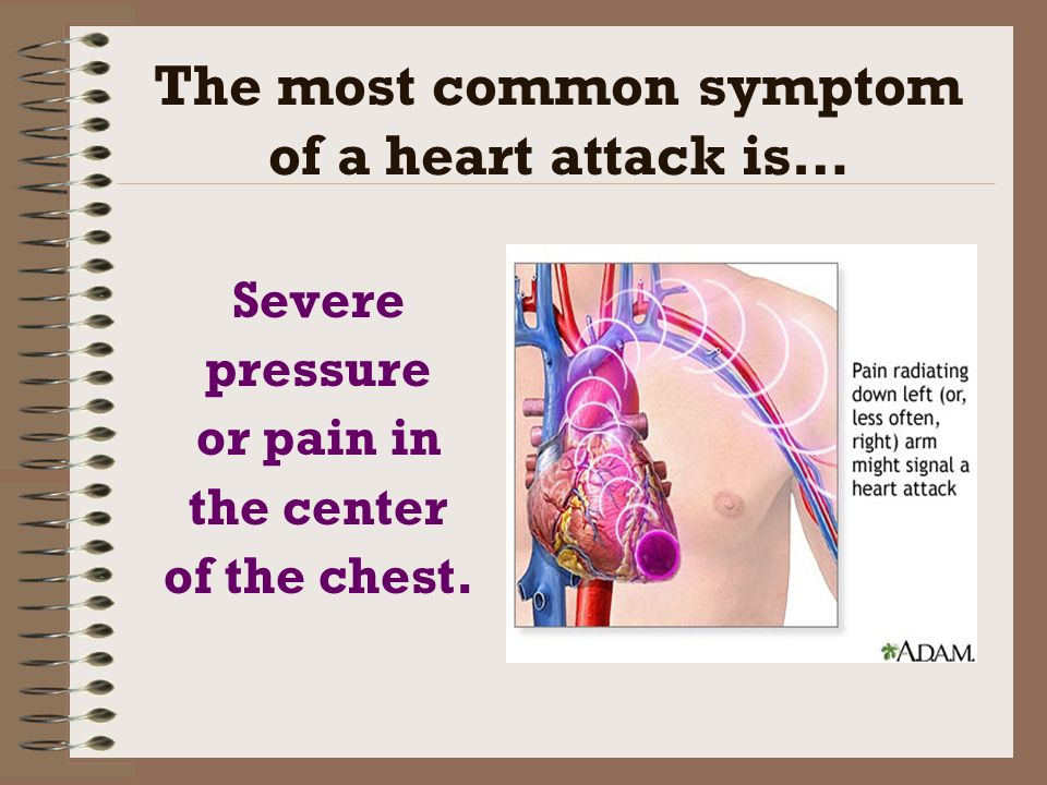 The most common symptom of a heart attack is…