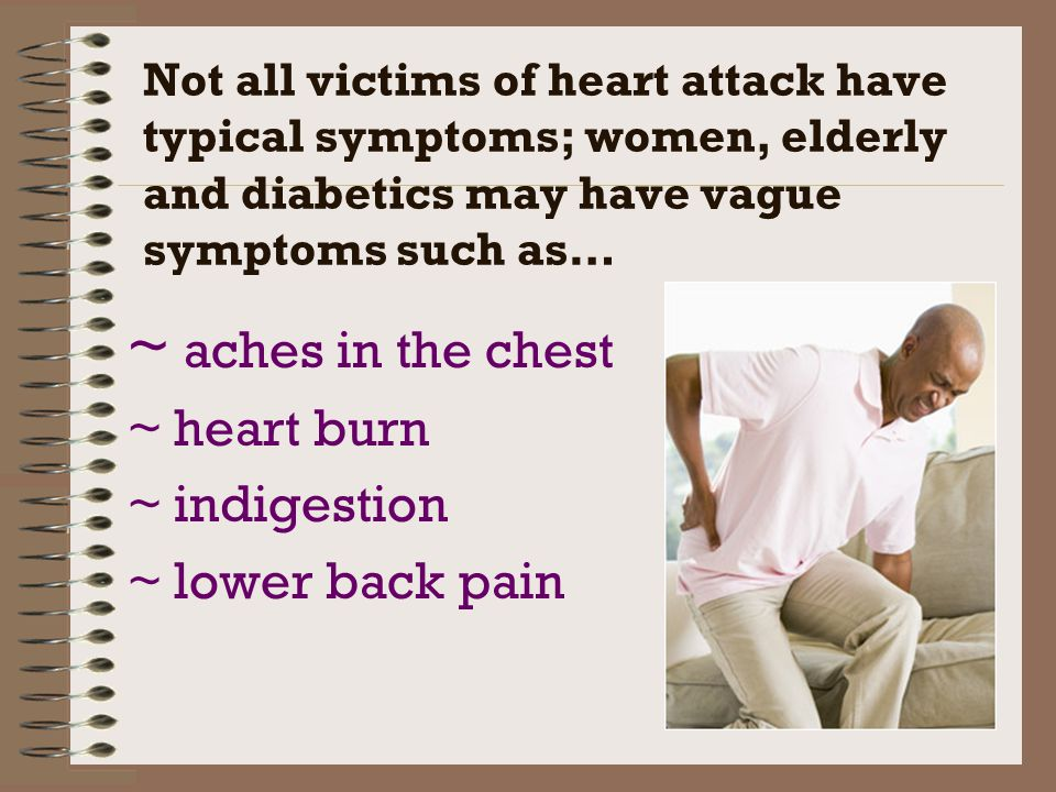 ~ aches in the chest ~ heart burn ~ indigestion ~ lower back pain
