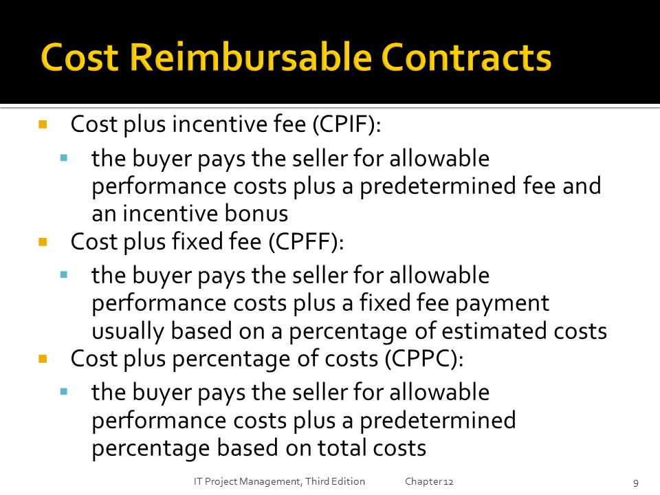 cost plus incentive fee contract Learn the 3 procurement contract types for the pmp exam definitions, formulas, and examples provided cost plus incentive fee contract (cpif) in cpif.