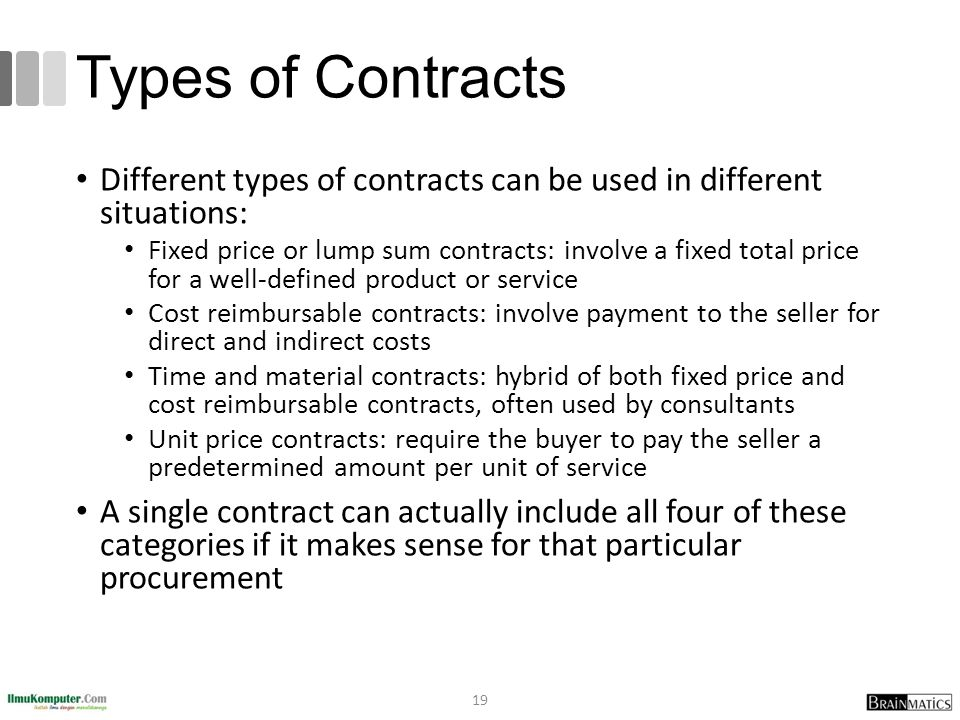 Types of Contracts Different types of contracts can be used in different situations:
