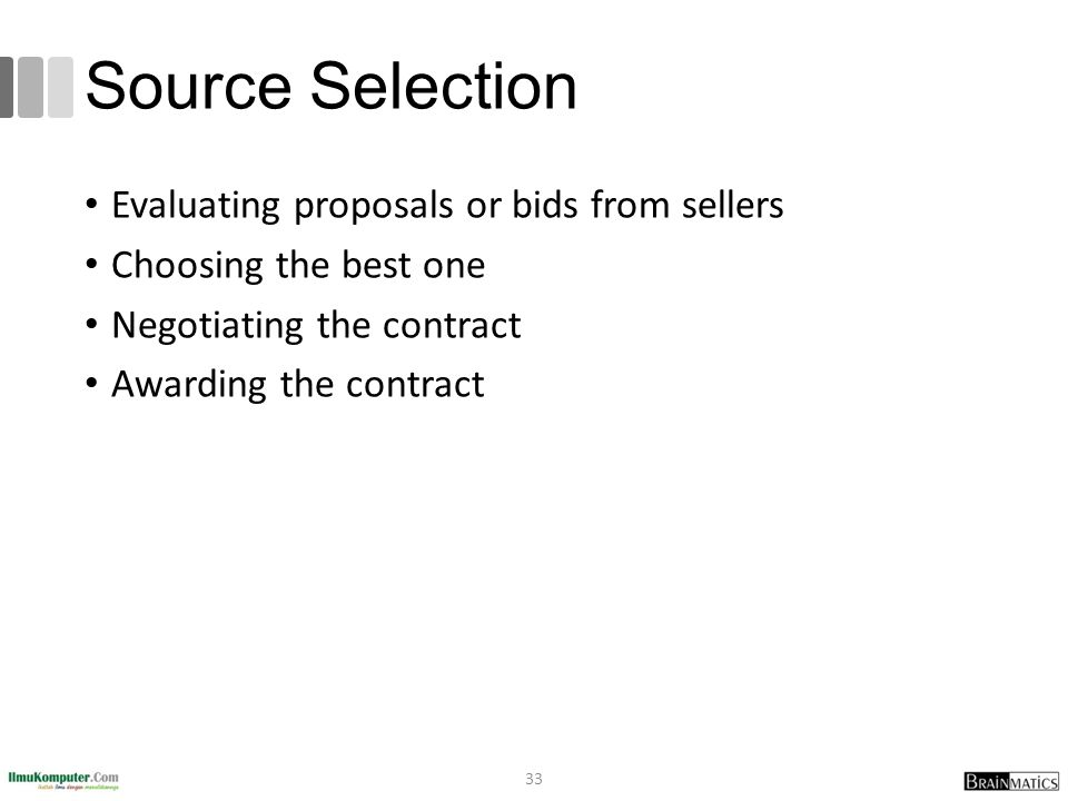 Source Selection Evaluating proposals or bids from sellers