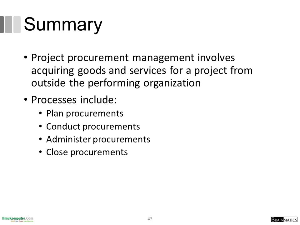 Summary Project procurement management involves acquiring goods and services for a project from outside the performing organization.
