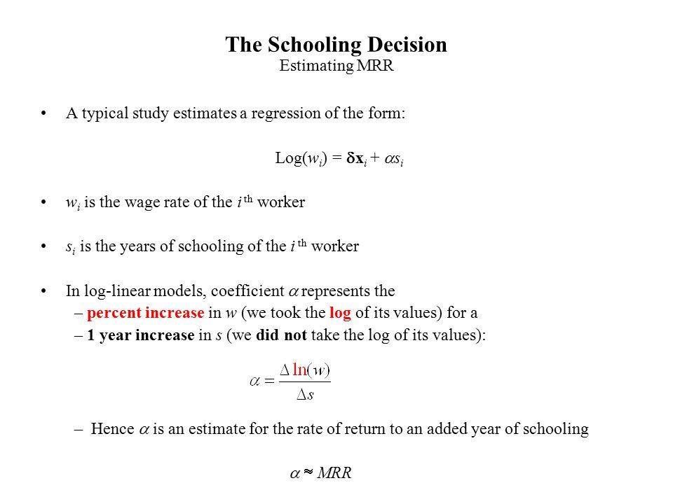 The Schooling Decision ppt download – Wage Increase Form