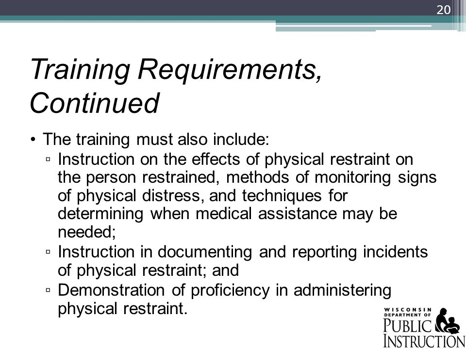 Training Requirements, Continued