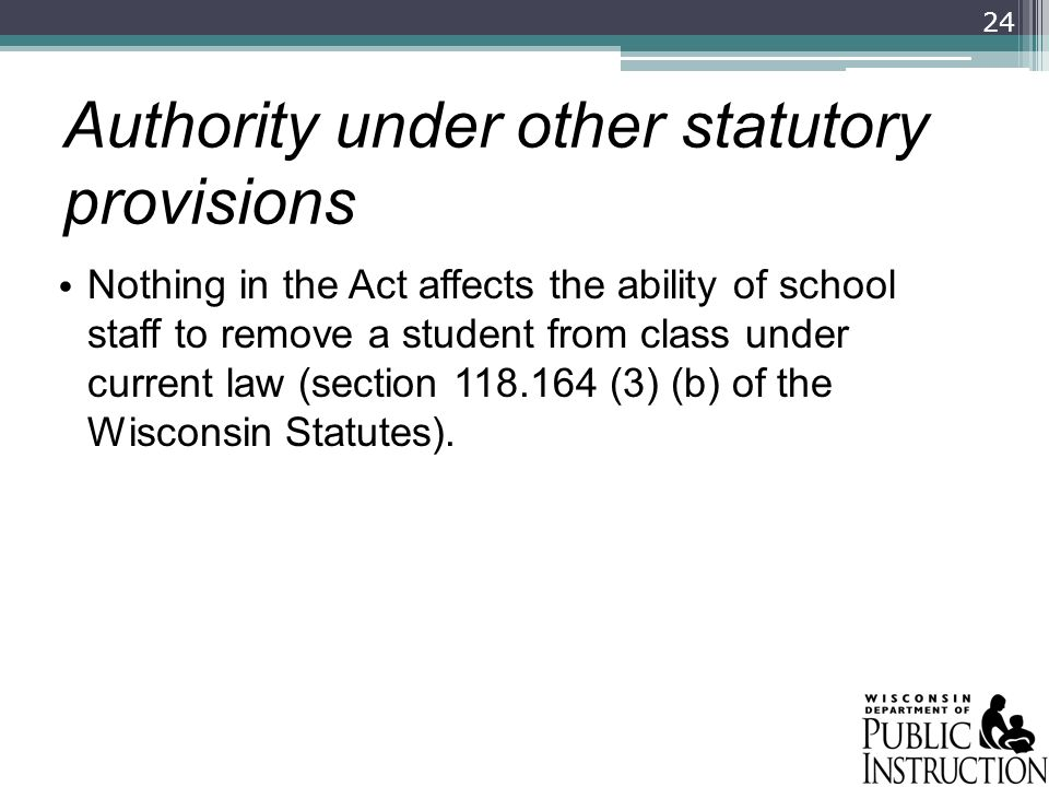 Authority under other statutory provisions