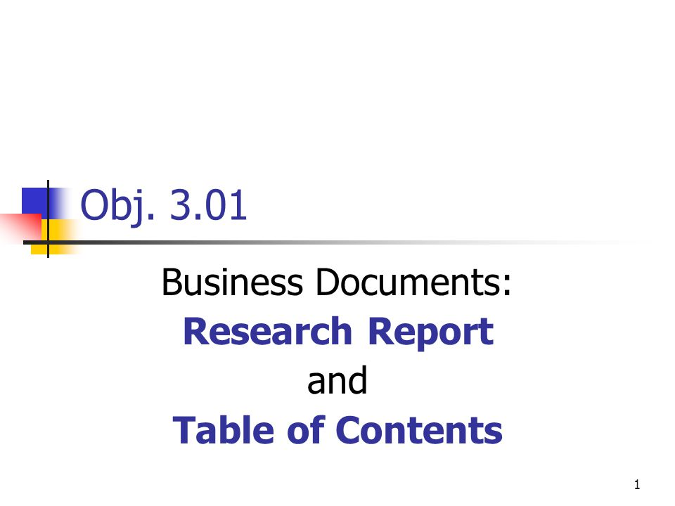 Research Proposals - Table of Contents