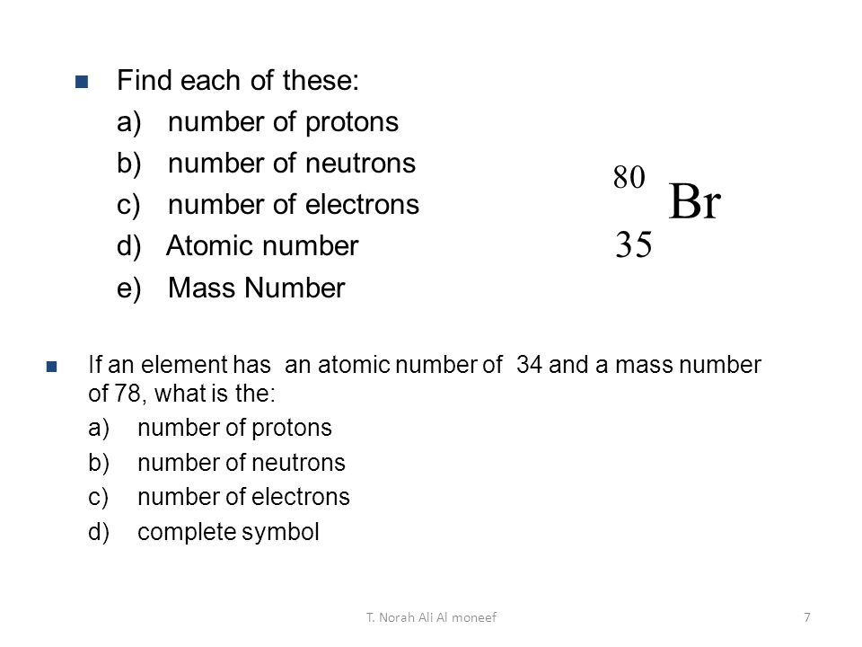 Br Find each of these: number of protons number of neutrons