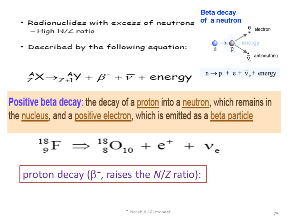 proton decay (+, raises the N/Z ratio):