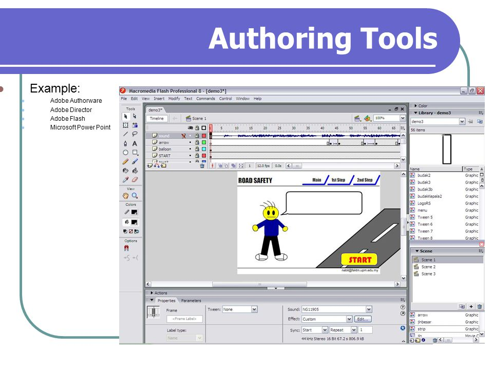 Authoring Tools Example: Adobe Authorware Adobe Director Adobe Flash