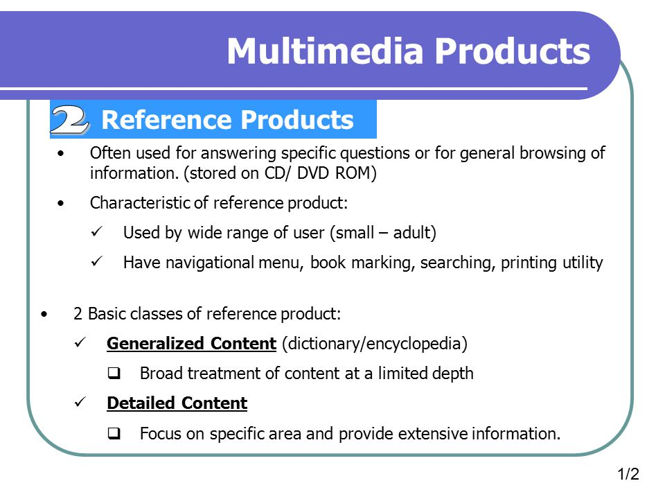 Multimedia Products 2 Reference Products