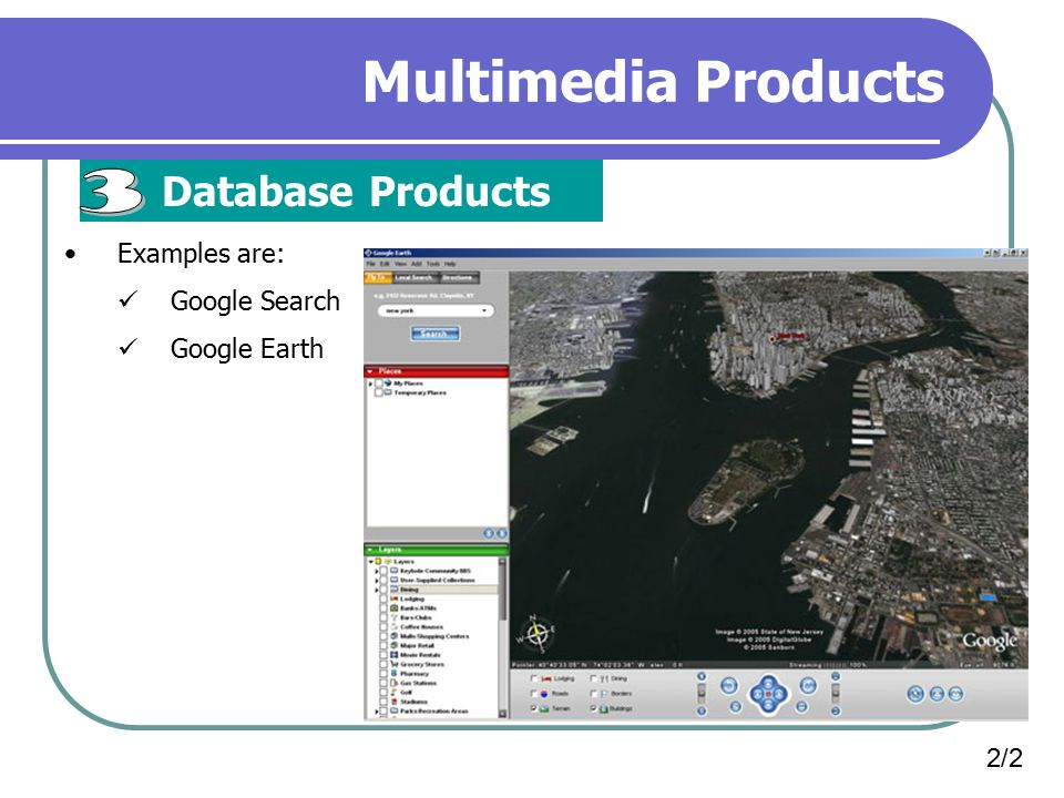 Multimedia Products 3 Database Products Examples are: Google Search
