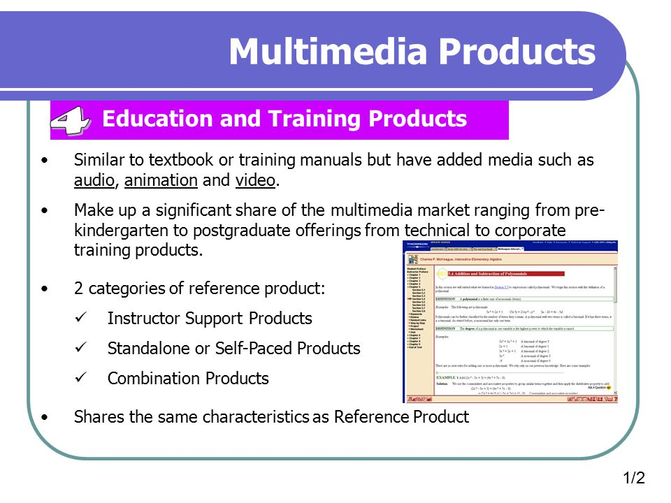 Multimedia Products 4 Education and Training Products