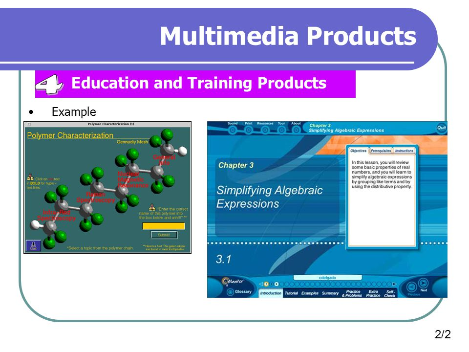 Multimedia Products Education and Training Products 4 Example 2/2