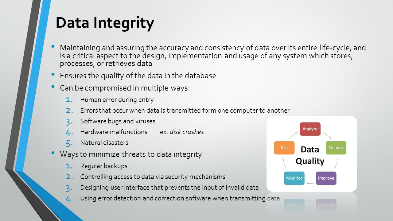 data integrity Data integrity a dimension of data contributing to trustworthiness and pertaining to the systems and processes for data capture, correction, maintenance, transmission and retention.