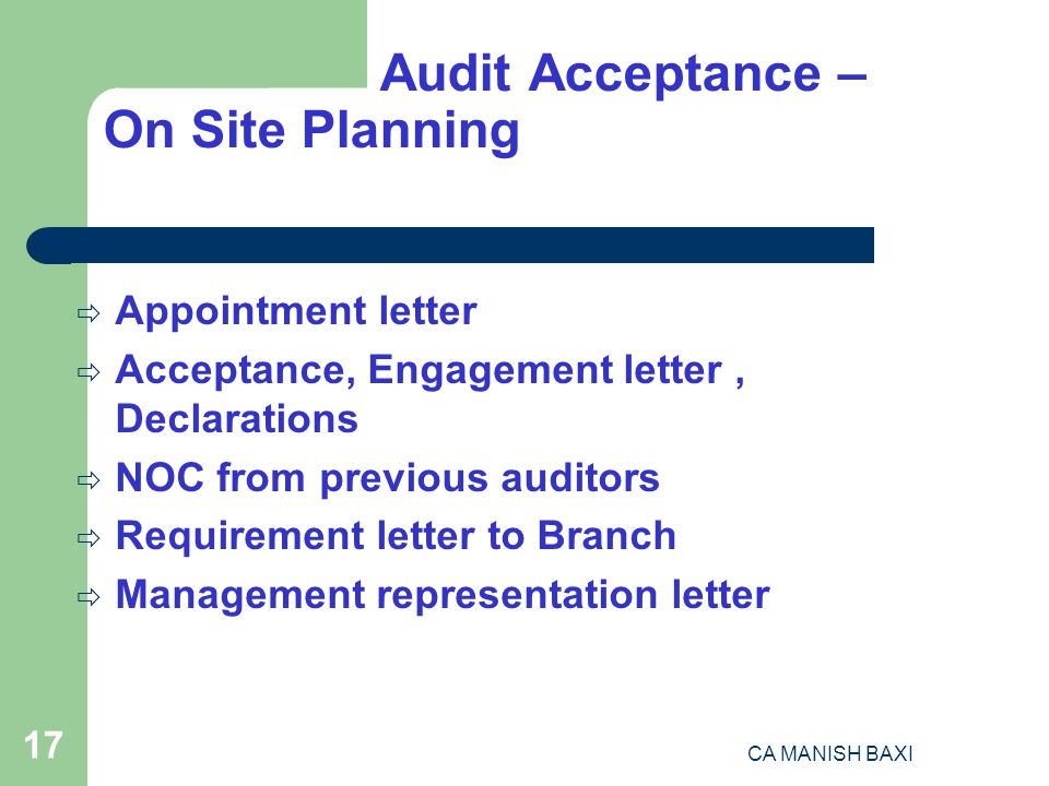 Format Of Noc Letter From Previous Auditor. 17 Audit Acceptance  On Site Planning Appointment letter Engagement Declarations NOC from previous auditors AUDIT PLANNING PROCEDURE ppt download