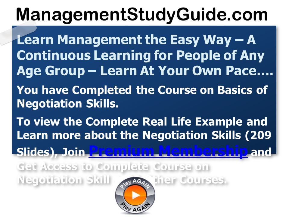 learning negotiation strategies for a managerial Learn negotiation skills and strategies with this harvard training program for negotiation skills: strategies for increased robert wilkinson is a negotiation and leadership specialist who helps organizations deal with a variety of negotiation, leadership, and management challenges.