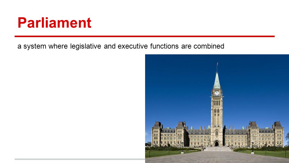 Parliament a system where legislative and executive functions are combined