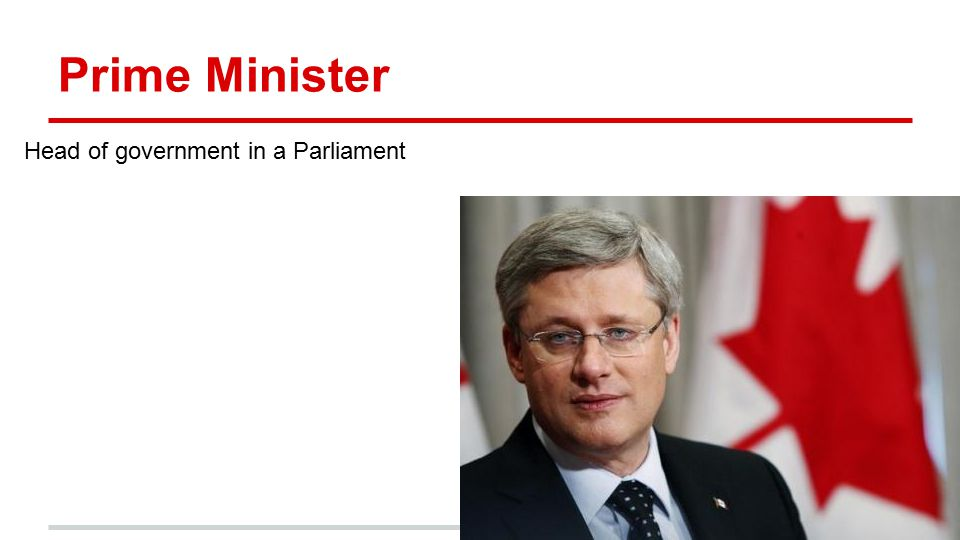Prime Minister Head of government in a Parliament Stephen Harper