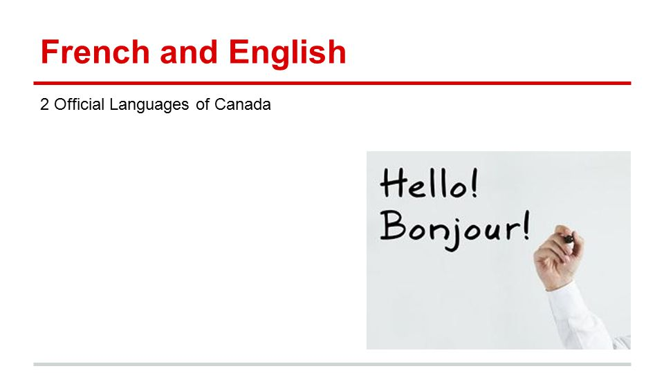 French and English 2 Official Languages of Canada