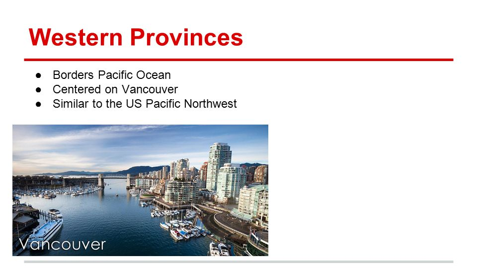 Western Provinces Borders Pacific Ocean Centered on Vancouver
