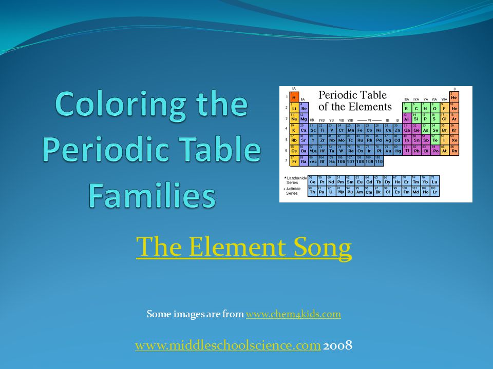 Coloring the periodic table families ppt video online download coloring the periodic table families urtaz Choice Image