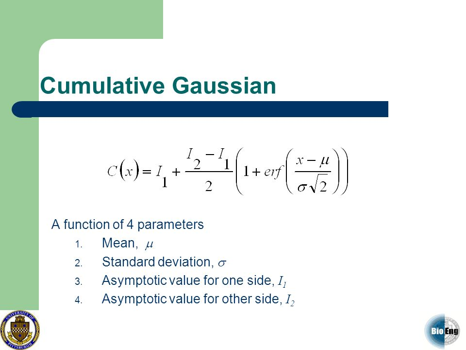 Cumulative Gaussian A function of 4 parameters Mean, m