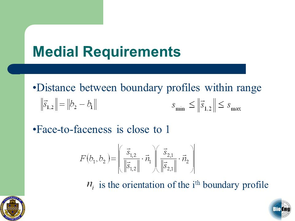 Medial Requirements Distance between boundary profiles within range