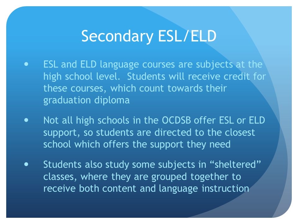 Secondary ESL/ELD