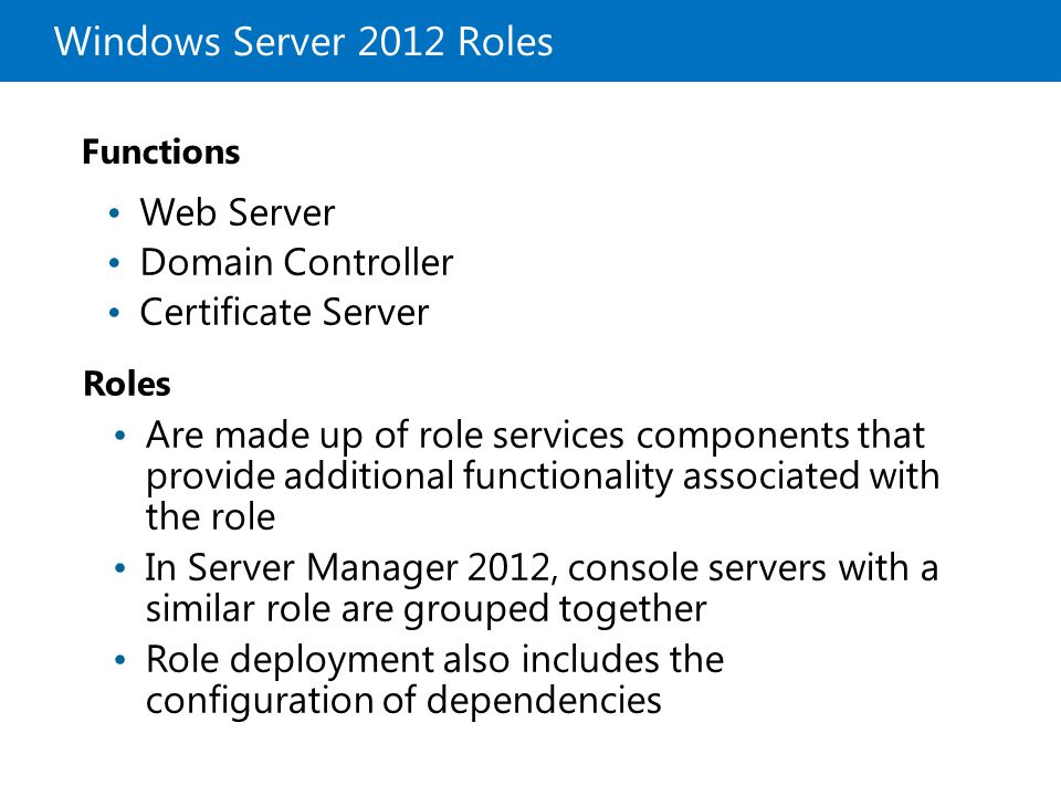 Windows Server 2012 Roles Web Server Domain Controller