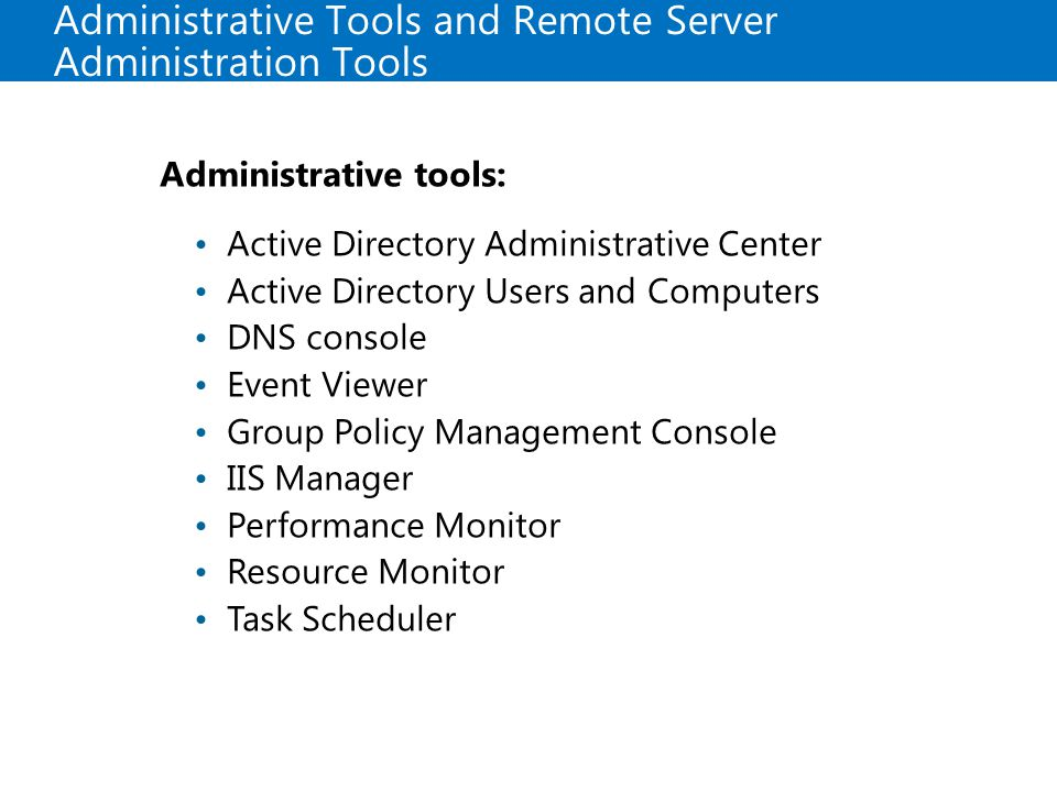 Administrative Tools and Remote Server Administration Tools