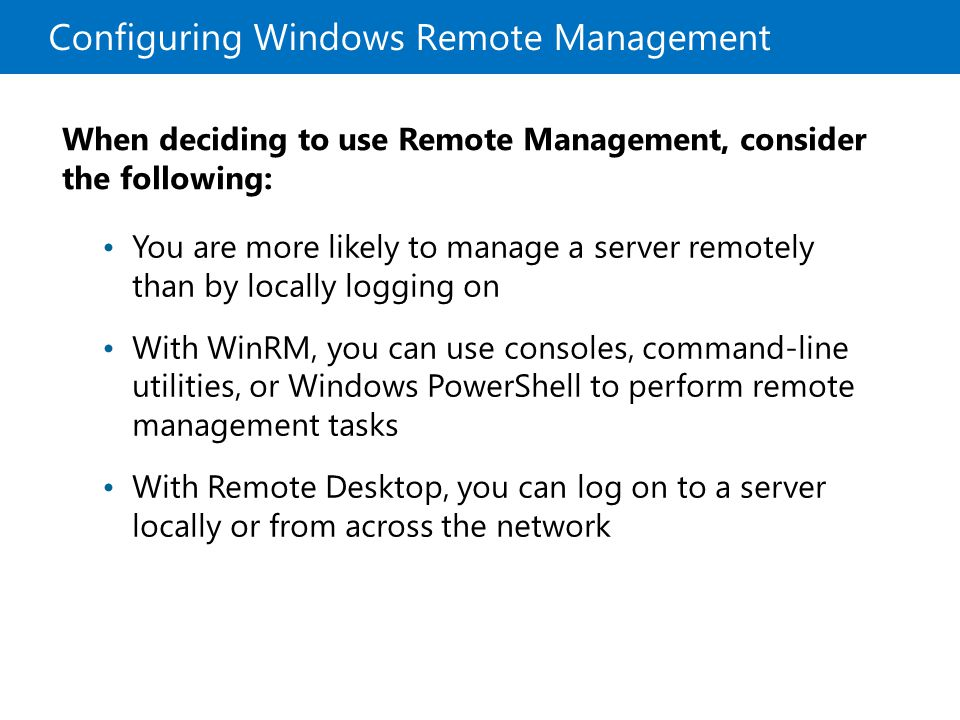 Configuring Windows Remote Management