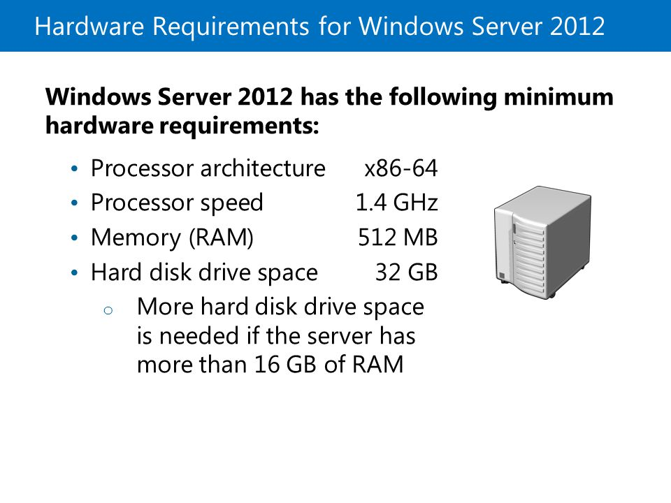Hardware Requirements for Windows Server 2012