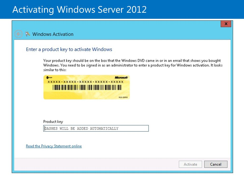 Activating Windows Server 2012