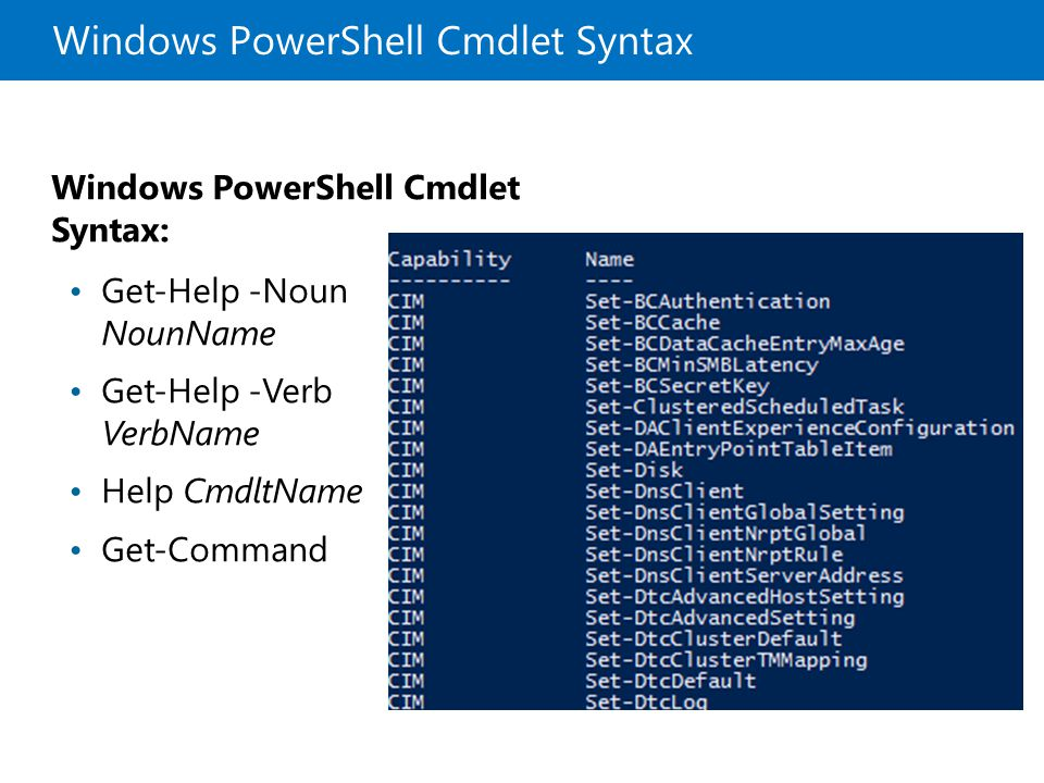 Windows PowerShell Cmdlet Syntax