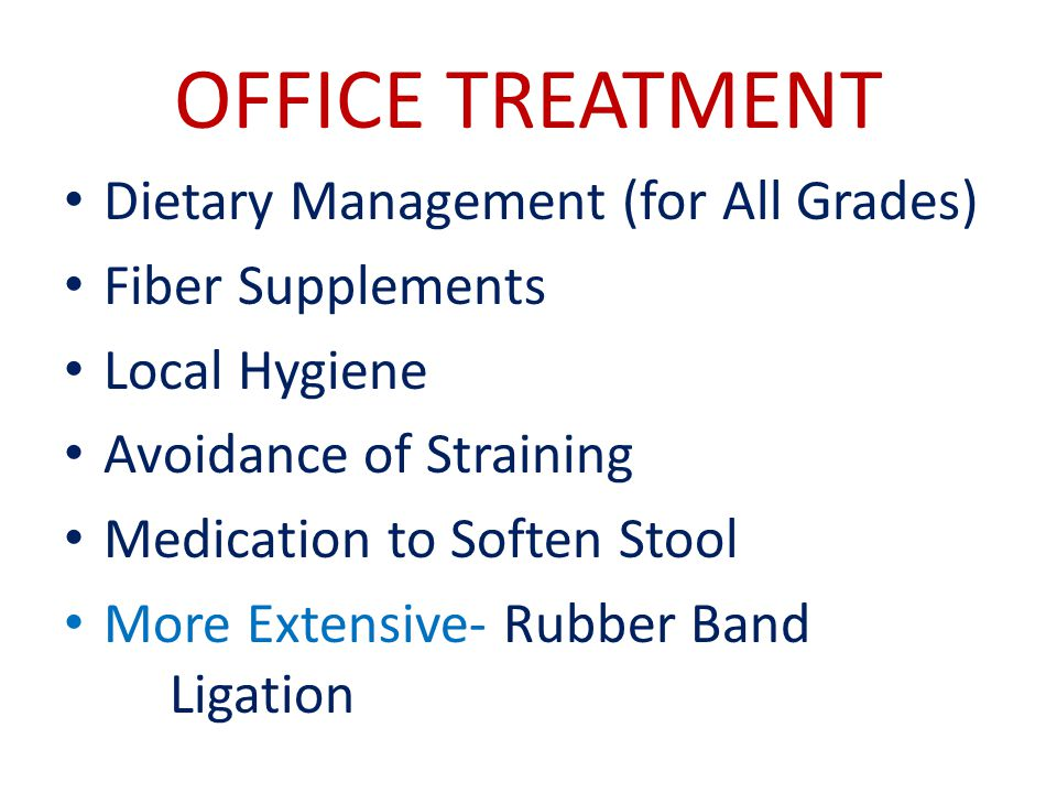 OFFICE TREATMENT Dietary Management (for All Grades) Fiber Supplements
