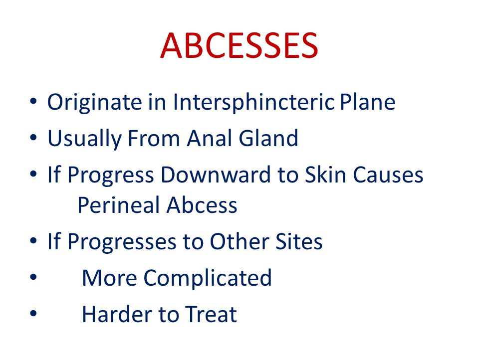 ABCESSES Originate in Intersphincteric Plane Usually From Anal Gland