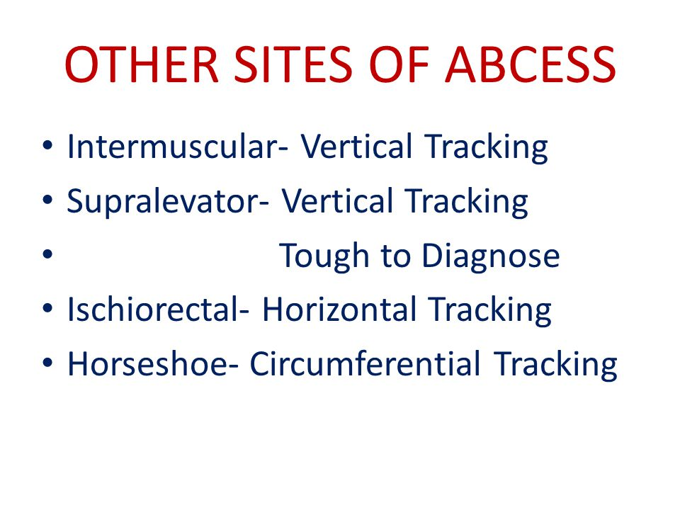 OTHER SITES OF ABCESS Intermuscular- Vertical Tracking