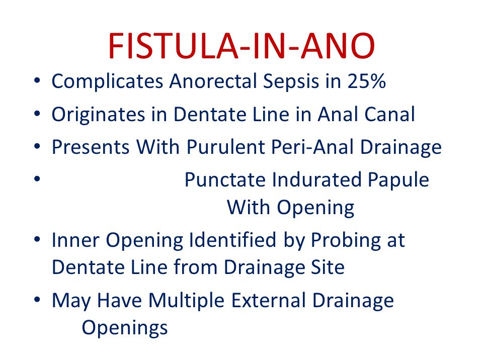 FISTULA-IN-ANO Complicates Anorectal Sepsis in 25%