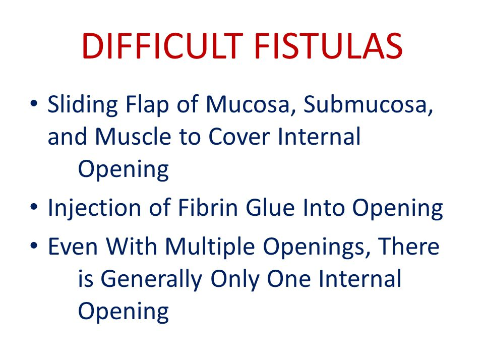 DIFFICULT FISTULAS Sliding Flap of Mucosa, Submucosa, and Muscle to Cover Internal Opening. Injection of Fibrin Glue Into Opening.