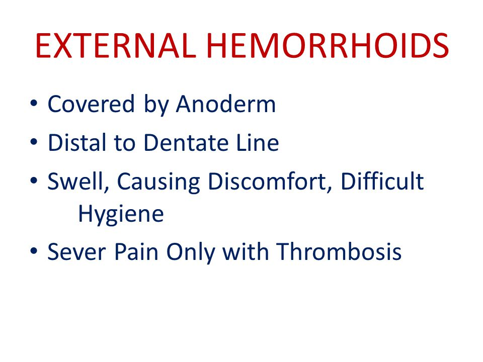 EXTERNAL HEMORRHOIDS Covered by Anoderm Distal to Dentate Line