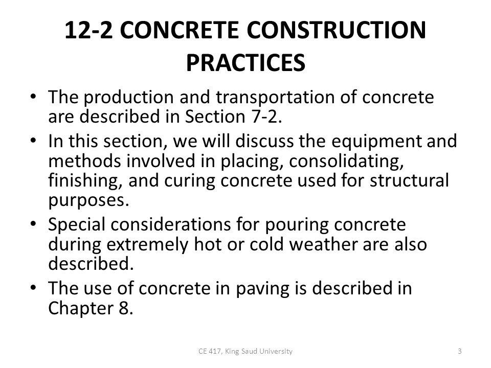 the challenges in placing cold weather concrete and the methods of placing it in cold weather This ppt discuss about the concreting methods and particularly hot and cold weather concreting methods (fig 13-9) and fog forms prior to placing concrete 4 • during cold weather, the concrete mixture and its temperature should be adapted to the construction procedure and ambient.
