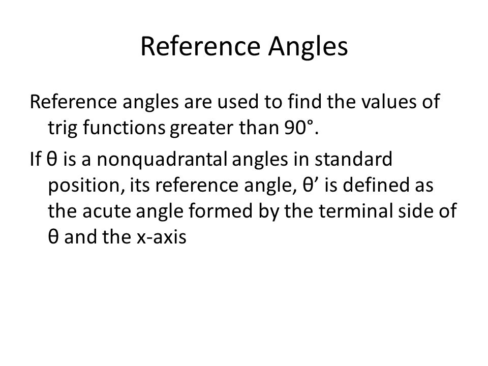 how to find reference angle in degrees