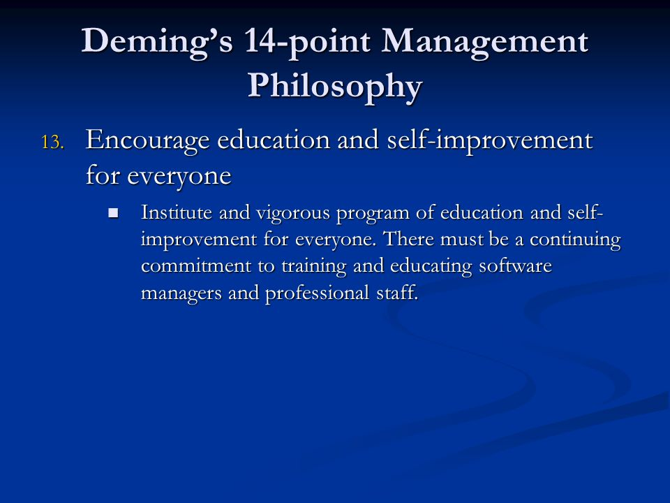 juran 14 point W edwards deming and joseph juran in the beginning, there were  the fourteen points: most known for these points, deming describes them as a way to transform.